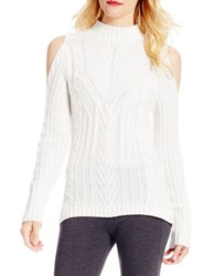 Jessica Simpson Knit Cold Shoulder Pullover White