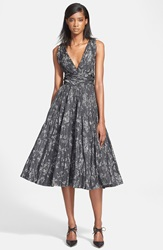 Tracy Reese Shirred Satin Fit And Flare Dress Silver