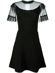 Red Valentino Sheer Panel Flared Dress Black