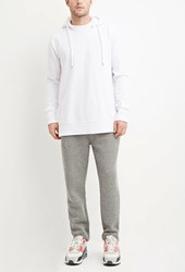 Forever 21 Drawstring Textured Knit Joggers Grey White