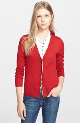 Burberry Check Trim Wool Cardigan Military Red
