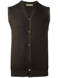 Cruciani Sleeveless Cardigan Brown