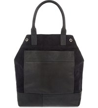 Dries Van Noten Cotton And Leather Tote Bla