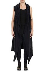 Greg Lauren Open Front Sleeveless Nomad Sweater Black