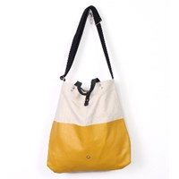 Stighlorgan Kavan Canvas Leather Shoulder Tote Yellow