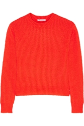 Alexander Wang Neon Ribbed Knit Sweater Tomato Red