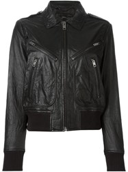 Diesel Zip Pocket Leather Jacket Black