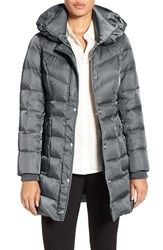 Kenneth Cole Women's New York Hooded Down Coat Steel