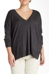 14Th And Union Deep V Pullover Plus Size Gray