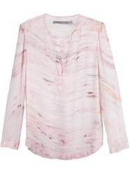 Raquel Allegra Henley Blouse Pink And Purple