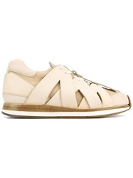 Hender Scheme Criss Cross Effect Sneakers Nude Neutrals