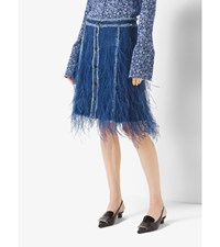 Feather Embroidered Denim Skirt