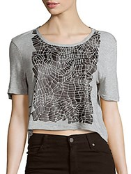Calvin Klein Jeans Short Sleeve Roundneck Cropped Top Light Grey