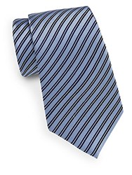 Saks Fifth Avenue Striped Silk Tie Blue
