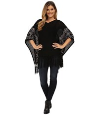 Miraclebody Jeans Felicity Fringed Sweater Top W Body Shaping Inner Shell Black Women's Sweater