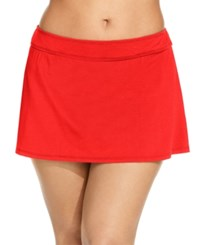 Anne Cole Plus Size Swim Skirt Women's Swimsuit Red