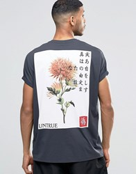 Asos Super Oversized T Shirt With Japanese Style Back Print And Roll Sleeve Washed Black Grey