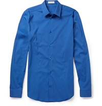 Balenciaga Cotton Blend Poplin Shirt Blue