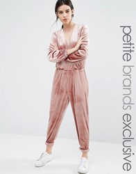 One Day Petite Allover Velvet Wrap Front Jumpsuit Light Clay Tan