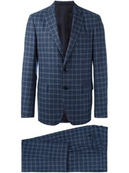 Etro Checked Two Piece Suit Blue