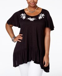 American Rag Plus Size Embroidered Handkerchief Hem Top Only At Macy's Classic Black