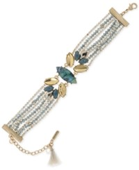 Lonna And Lilly Gold Tone Stone Bead Bracelet Blue