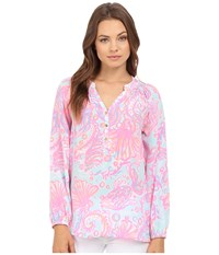 Lilly Pulitzer Elsa Top Pink Pout Too Much Bubbly Women's Blouse