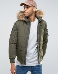 Only And Sons Padded Jacket With Faux Fur Trim Hood Forest Green