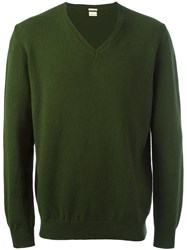 Massimo Alba V Neck Sweater Green