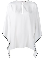Adam By Adam Lippes Keyhole Poncho Blouse White