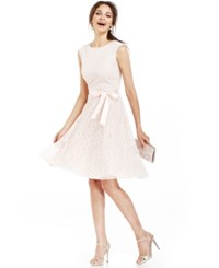 Tahari By Arthur S. Levine Tahari By Asl Glitter Lace Belted Dress Blush Pink