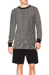 Nlst Long Sleeve Cotton Waffle Sweater In Black