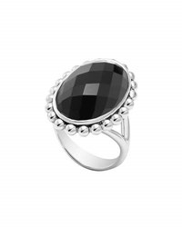 Lagos Maya Silver Oval Onyx Ring Black