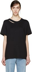Off White Black Distressed T Shirt