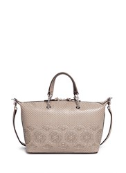 Tory Burch 'Zoey' Small Floral Cutout Perforated Leather Satchel Grey