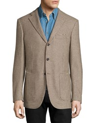 Luciano Barbera Cashmere Houndstooth Three Button Jacket Tan Multi
