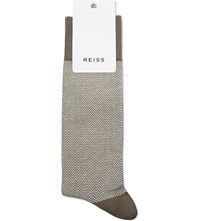 Reiss Pheonix Horizontal Zigzag Socks Dark Green