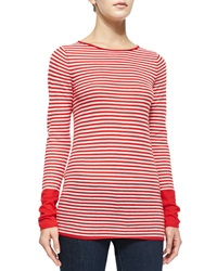 Neiman Marcus Cashmere Collection Long Sleeve Striped Cashmere Top White Hibiscus