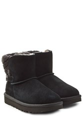 Ugg Australia Fur Lined Suede Boots With Buckle Black