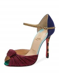 Christian Louboutin Marchavekel Mixed Media D'orsay Red Sole Pump Multi Multi Color
