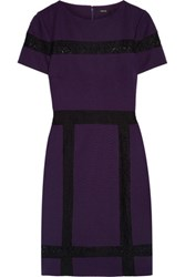 Raoul Bruna Lace Trimmed Twill Mini Dress Dark Purple