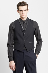 The Kooples Leather Trim Wool And Mohair Vest Black