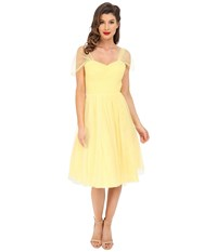 Unique Vintage Chiffon Garden State Party Dress Yellow Dot Women's Dress