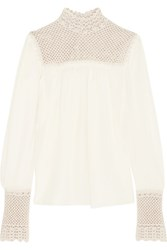 Magda Butrym Minorca Crocheted Silk Blouse Cream