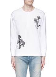 Saam1 'Violet' Tiger Embroidery Henley Shirt White