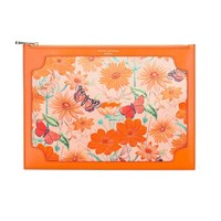 Aspinal Of London Zip Top Botanical Pouch Orange