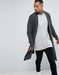 Asos Longline Cardigan In Reverse Loopback Washed Black