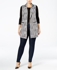 Ny Collection Plus Size Jacquard Knit Houndstooth Vest Night Mega Pixel