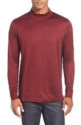 Men's Bugatchi Long Sleeve Mock Neck T Shirt Burgundy