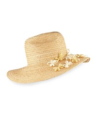Yestadt Millinery Buttercup Western Straw Fedora Hat W Flower Natural Size S M 22.5